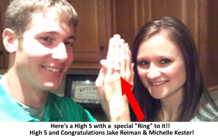 An engaging High 5 picture here with Jake Reiman and Michelle Kester.