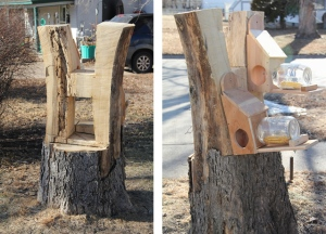 Front and Back of Art Holz's Tree Stump Turned Art Piece & Feeder