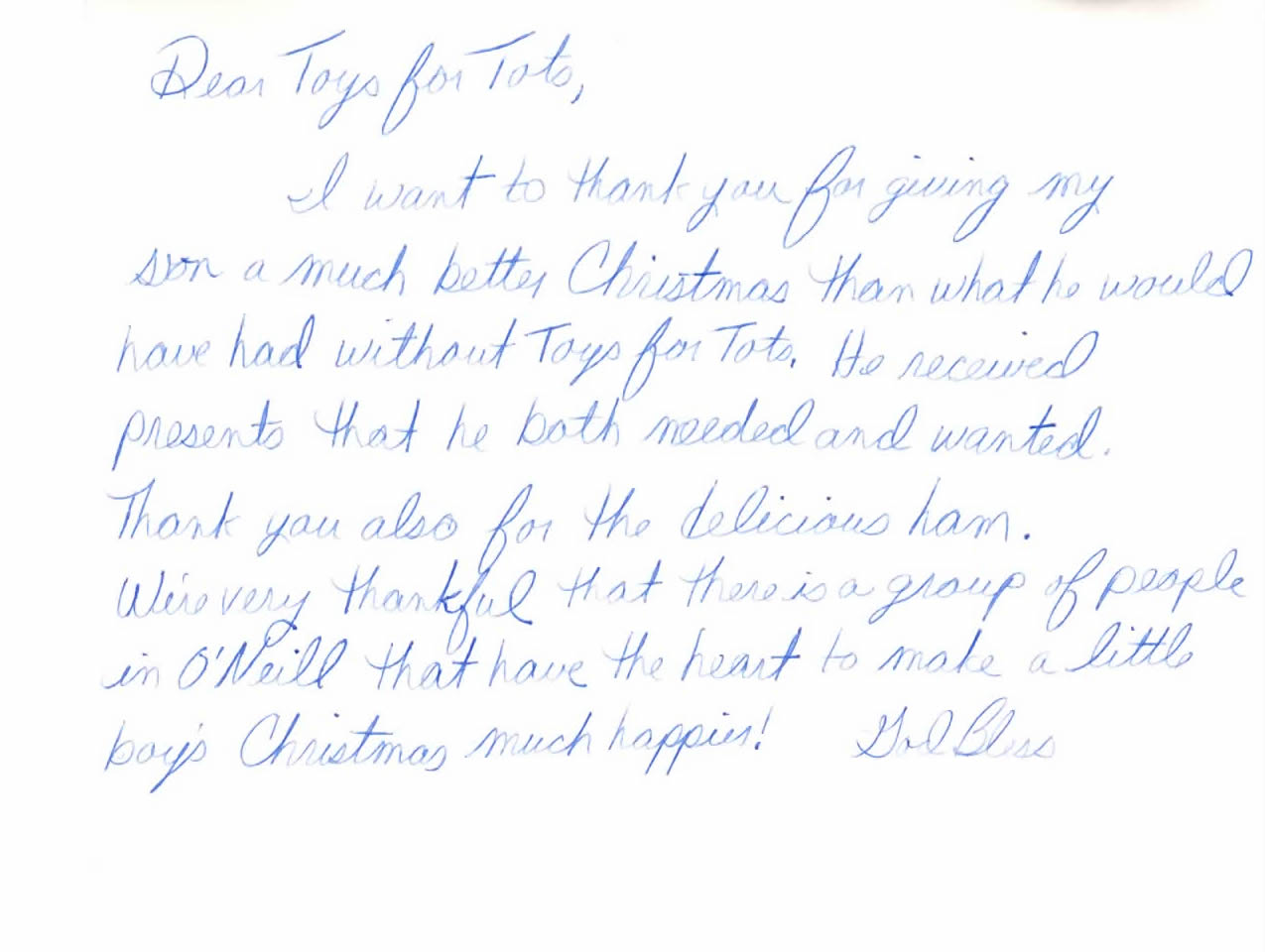 Announcement Email Sample Toys For Tots : Toys for tots thank you letter