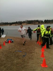 Evan Davis (stocking cap on) & Philip Davis come out after the polar plunge!