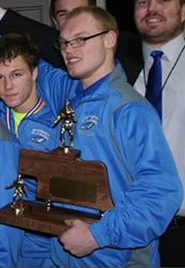 Tim Lechtenberg with the O'Neill Eagle State Runner-Up trophy.